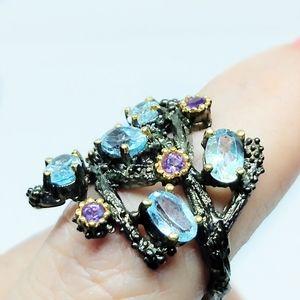 Aquamarine color Topaz, Amethyst ring One Size